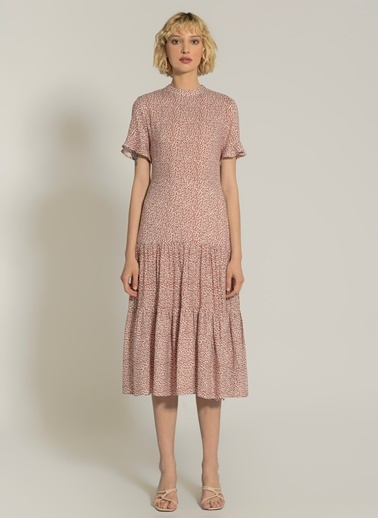 NGSTYLE Desenli Yırtmaç Detaylı Elbise Kiremit